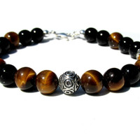 Mens Tiger Eye and Onyx Sterling Silver Bracelet, Mens Gemstone Bracelet, Mens Bracelet, Bali Sterling Silver, Bali Bracelet