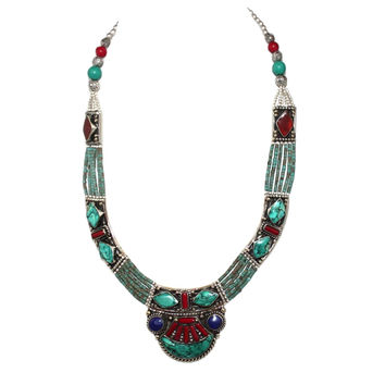 Lapis Coral Turquoise Handmade Tibet Necklace