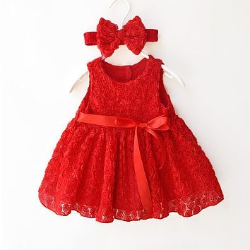 Super cute newborn baby girl party dress 1 year birthday dress Lace Princess dresses infant girls clothing newborn baby clothing