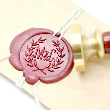 Custom Wedding Initials Gold Plated Wax Seal Stamp - Olive Branch Wreath x 1