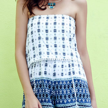 White Ethic Print Strapless Lace Trimmed Romper