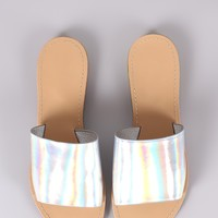 Iridescent Wide Band Slide Sandal