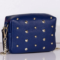 Chic Studded Navy Little Purse. Dark Blue Genuine Leather Chain Sling Bag. Cute Small Clutch Bag