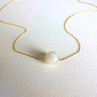 Moonstone Pendant Charm Necklace and 14k Gold Fill Chain
