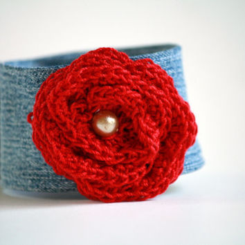 Denim Wrist Cuff With Romantic Red Crocheted Rose - Bracelet - Jewelry Recycle