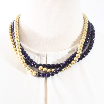 Purple and Gold Color Block Glass Pearls Necklace.