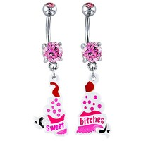 Pair of Sweet Bitches Cupcake 316L Steel Dangle Belly Ring