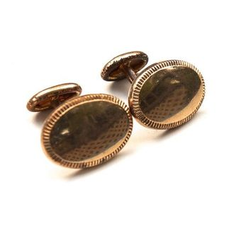 Antique Bean Back Oval Cufflinks, Early B.A. Ballou Hallmark, 1900s Victorian-Edwardian 14k Gold Plate, Formal Wear, Wedding Groom Black Tie