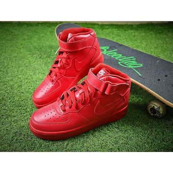 Nike Air Force 1 Mid All Red Mid AF1 Sport Shoes - Sale