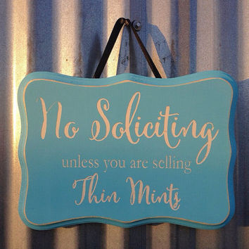 Hand Painted Distressed Rustic No Soliciting Sign