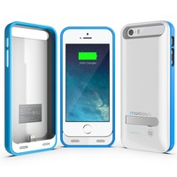iPhone 5 Battery Case , Maxboost Atomic S iPhone Charger For Apple iPhone 5 / iPhone 5s [APPLE MFI Certified] Protective 2400mAh Battery Pack Juice Power Case with Built-in Kickstand -White/Silver