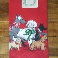 Ridgefield Home Set of 2 Christmas Dog Print Kitchen Towels Dachshund Bulldog