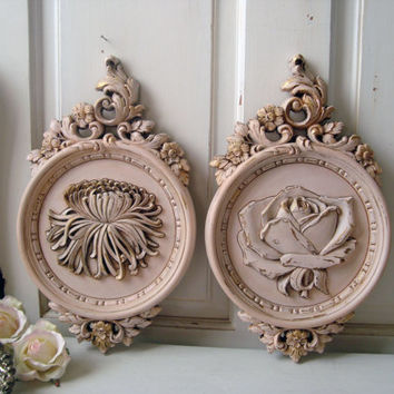 Vintage Pink Ornate Floral Wall Hangings, SYROCO Wall Plaques, Light Pink Kitsch Decor, Shabby Chic Distressed Wall Hangings