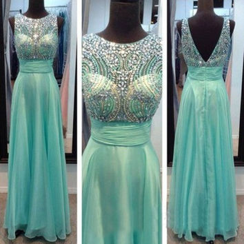 V-Back Prom Dress,Blue Prom Dress,Long Evening Dresses