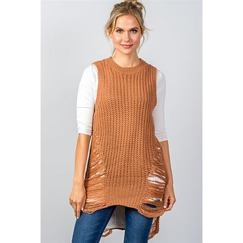 Womens sweaters cute casual fall winter fashion round neckline sleeveless sweater knit distress sides dress