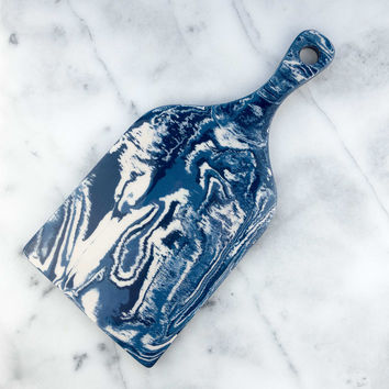 Cobalt Ebru Marble Ceramic Serving Board