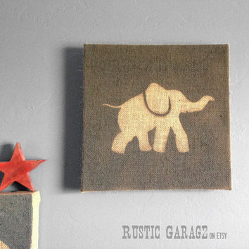 Baby Elephant Nursery Art in Ocean Teal - Ready to Hang Painted Burlap Elephant Wall Hanging - Teal and Grey Safari Baby Decor