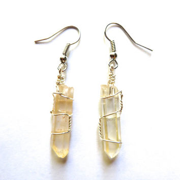Wire Wrapped Crystal Point Raw Quartz Hand Made Handmade Wrap Clear Point Raw Rough Earrings Jewelry