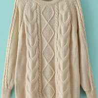 Fall Fashion Cable Knit Loose Apricot Sweater