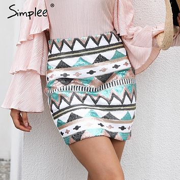 Simplee Aztec print sequin pencil skirt High waist streetwear zipper short skirt Bohemian  New autumn mini skirts womens bottom