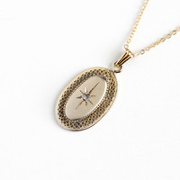 Vintage 12k Yellow Gold Filled Diamond Filigree Pendant Necklace - Retro 1950s Victorian Revival Etched Star Oval Charm 14k GF Chain Jewelry