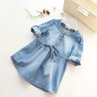 2016 Spring New Arrival Baby Girls Long Sleeve Denim Dresses Girls Fashion Floral Embroidery Denim Dress Kids Dress