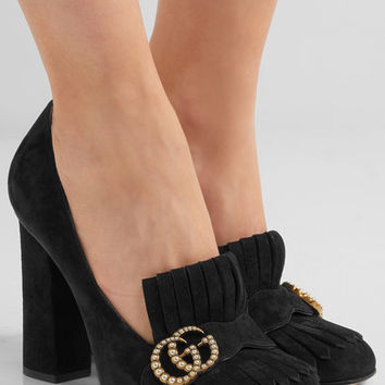 Gucci - Marmont fringed logo and faux pearl-embellished suede pumps