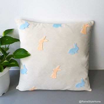 Light Peach Light Blue Pastel Bunnies Decorative Cream Pillow Cover. Easter Bunnies Rabbits Pillow Case. Easter Decor. Children Room Pillow