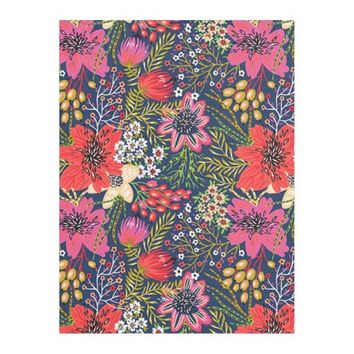 Vintage Bright Floral Pattern Fleece Blanket