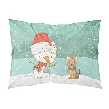 Yorkie Cropped Ears Snowman Christmas Fabric Standard Pillowcase CK2098PILLOWCASE
