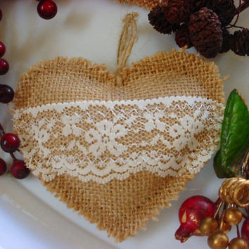 Burlap and Lace Heart Ornament Wedding Gift Valentine Tag Favor Bunting Garland Mobile Shabby Rustic Chic Decor