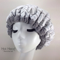 Hot Head Deep Conditioning Microwavable Heat Cap - Hair Care Product - Gray Chevron Reversible