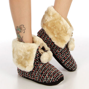 CHRISTMAS GIFT HOLIDAY Reindeer Slippers Sherpa Slippers House Shoes - Gift for Women Gift for Girls
