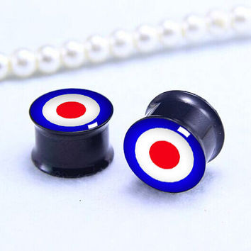 Bulleye  ear Plug  ,pricing body jewerly , Screw on Gauge ear plugs , Black Titanium ear plugs ,
