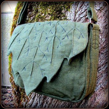 Leaf Bag Purse ~ Messenger School Book Bag ~ Green Cotton Canvas ~ Elven Forest Legolas LARP Renaissance Fair Festival LOTR Hobbit Elf Garb
