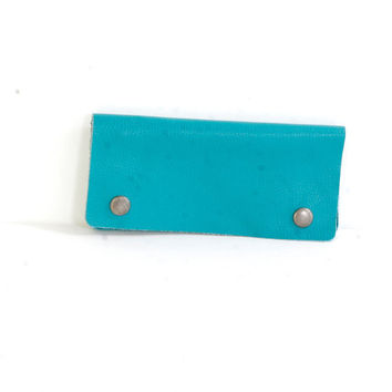 Pebbled Turquoise Italian Leather Wallet, Handcrafted in LA