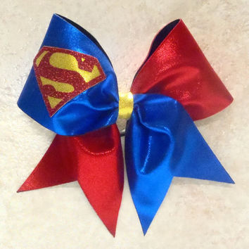 Superman Cheer Bow by cheerbowsandarrows on Etsy