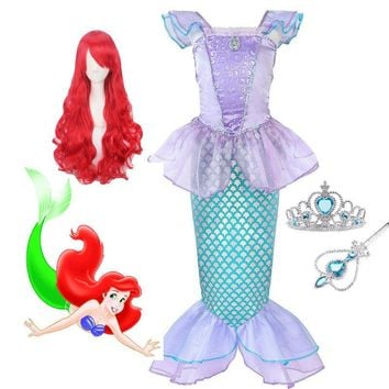 Pearl Diary Children Clothes Little Mermaid Fancy Kid Girls Mermaid Dresses Princess Ariel with Headband Cosplay Halloween