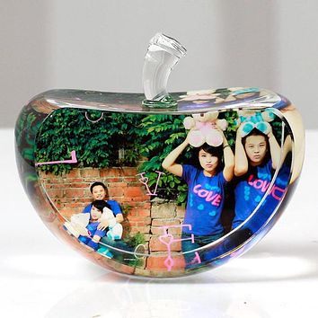 60mm Apple Shaped Crystal Photo Frame