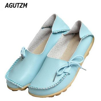 AGUTZM New Women Real Leather Shoes Moccasins Mother Loafers Soft Leisure Flats Female Driving Casual Footwear Size 35-42