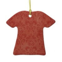 Retro Red Damask Vintage Christmas Ornament from Zazzle.com