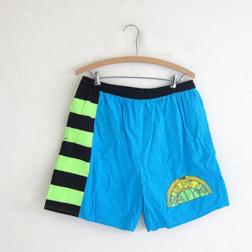 Vintage Men's Beachwear Lounge Swim Trunks size Large. Blue, green and black. Surf's up swimming shorts