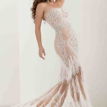 Jasz Couture Feather Skirt Mermaid Dress 5568