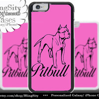 Pit bull Iphone 6 Plus Case Silhouette Love My PitBull Hot Pink Name Dog Iphone 4 4s 5 5C Ipod Touch Cover Terrier