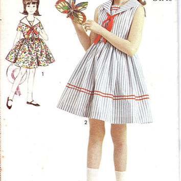 1960s Adorable Retro Vintage Girls Advance Sewing Pattern Sailor Collar Full Skirt Tea Garden Dress Size 7 Uncut