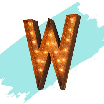 "12"" Letter W Lighted Vintage Marquee Letters (Modern Font/Rustic)"