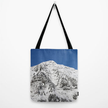 Tote Bag, Sunny Mountain,Austria, landscape, blue, white, snow, country living, accessory, nature, winter bag, gift bag, holiday bag,ski bag