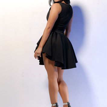 Black Sleeveless Triangle Shape Skater Dress