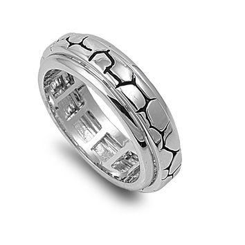 925 Sterling Silver Fashion Spinner 7MM Ring