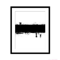 ABSTRACT BLACK AND WHITE PAINT STROKE PRINT